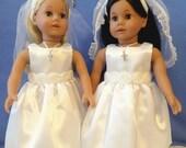 Confirmation Doll Dress / First Communion / Doll Dress /Doll Shoes / Doll Socks / Veil / Necklace / Rosette Tea Length – 8012