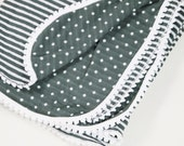 Blanket - Grey and White Stripes and Polka Dot Swaddle Blanket With Pom Pom Trim