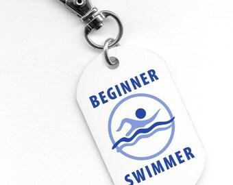 Blue BEGINNER SWIMMER Pool Safety Alert 2.25 inch Aluminum Core Dog Tag 2-Side