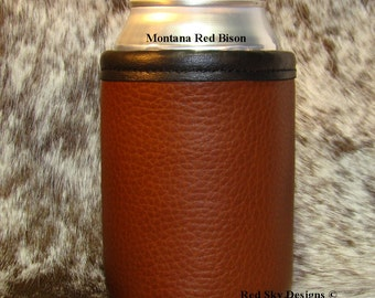 Bison Leather Can Insulator In a rich Bison Leather Color - Choose Saddle, Montana Red or Black Bison Can