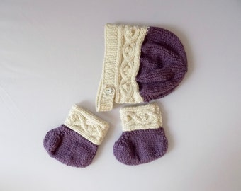 Baby Bonnet and Booties Set, Knit Baby Outfit, Baby Accessories, Purple Knit Hat