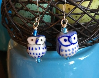 Ceramic-type Dark and Light Blue Owl Bead mix-match set Earrings on Silver French Wires by LauriJon™ Studio City