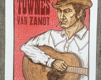 Townes Van Zandt Woodcut