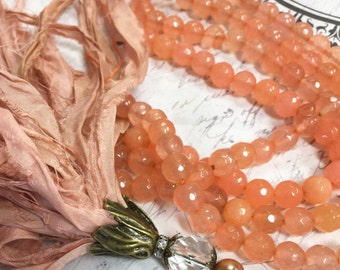 "1 strand 8mm Peach Quartz Faceted Bead Strand 15"" Bead strand"