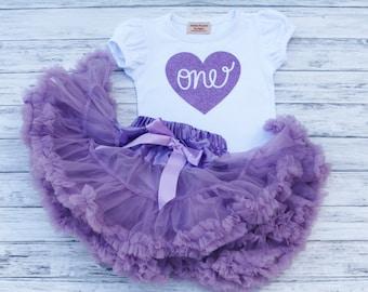 Girls Deluxe Purple Birthday Outfit Purple Skirt w/ Satin Bow and Shirt Set-One, Two etc heart, Toddler Skirt-Petti-Tutu skirt-Fluffy Skirt