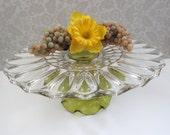 "Glass Cake Stand in Chartreuse Green / 14"" Cake Plate / Dessert Pedestal for Garden Weddings / Vintage Plate Platter Tray"