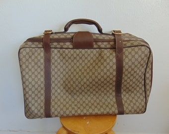 80s vintage GUCCI brown leather and canvas LOGO suitcase large