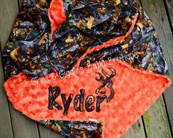 Camo Baby Blanket,Orange Minky, Personalize,Applique,Browning,Buck Head,Baby Boy Blanket,Minky Blanket,Crib Blanket,Camo Baby Bedding