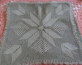 Primitive Vintage Hand Crochet Pillow Cover