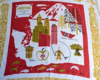 Vintage Tammis Keefe Hankie - Washington State Seattle Souvenir