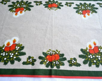 Vintage Scandinavian Linen Table Runner - Red Christmas Candles and Apples - 16 x 30