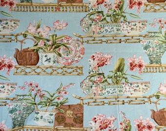 Stroheim & Romann Fabric - Mandarin Court in Aqua - 58 x 42