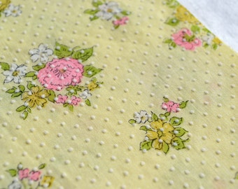 Vintage Fabric - Yellow Swiss Dot and Pink Flowers - By the Yard