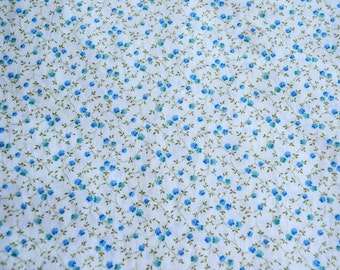 Vintage Fabric - Petite Blue and Yellow Vine Flowers on White - By the Yard