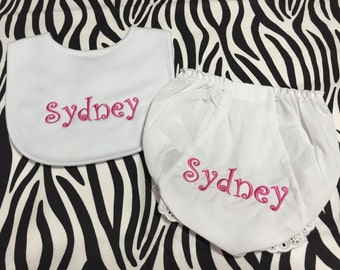 Monogrammed Diaper Coverand Matching Bib Set White Diaper Cover Personalized