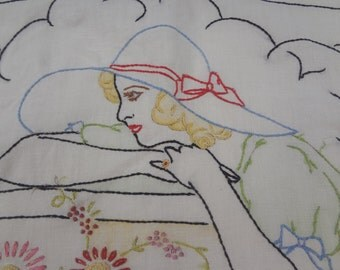 Vintage Pillow Cover / Painted and Embroidered Lady