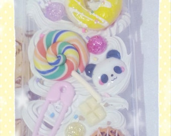 READY To SHIP Fairy Kei Kawaii Panda and Sweets Iphone 5 Deco Case Lollipop Doughnut Donut