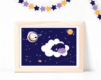 Poster ~ Sleeping Bears in Sky ~ A3 Hand Printed ArtPrint ~ Purple and yellow ~ Poster, children room, nursery, decoration