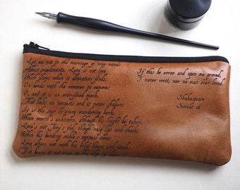Sonnet 116, leather pencil case, Shakespeare, Leather pen case, Shakespeare gifts, wedding reading, leather anniversary, Wedding Gift