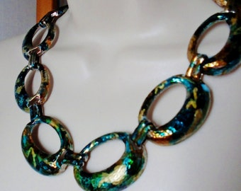 Hand Painted Vintage Necklace Choker Deep Sea Blue Turquoise Aqua Swirls of Metalic Gold Oval Pounded Metal  Artisan