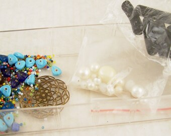Beading Supplies Tray of Assorted Vintage Beads and Medalian