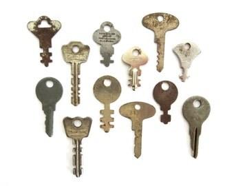 12 vintage keys, key collection, wholesale keys, lot of keys, odd old key, craft keys, charm keys, diy keys, authentic assortment, rusty 11