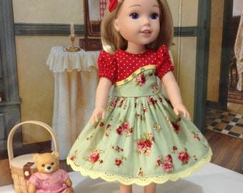 "Wellie Wisher  ""Rose Blossoms"" dress and slip with hairpin bow fits the new WW dolls by American Girl"