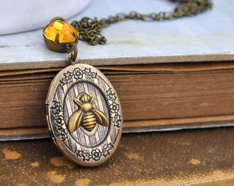 antiqued brass locket, floral locket, VINTAGE BEE, vintage style floral locket necklace with petite bee charm and orange topaz jewel