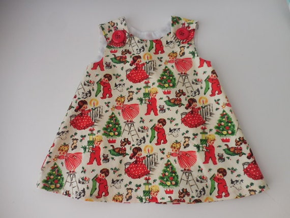 Retro inspired christmas print umper dress with bloomers for babies