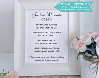 Jordan Almonds Italian Digital Reception Wedding Sign 5x7 Downloadable File, Italian Confetti 5x7 Instant Download Printable Template