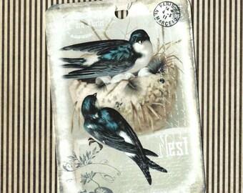 Bird Gift Tags, Bird Tags, Bird Lover,  Nesting Bird Tags, Nest