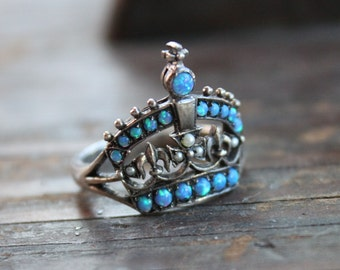 Victorian Sterling Blue Fire Opal and Seed Pearl Crown Ring / Size 6.5