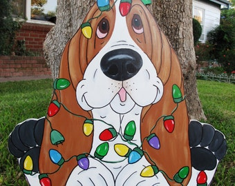"""Made to Order Hand Painted Basset Hound Yard Art - Holiday - """"Edison"""" Wrapped in Xmas Lights"""
