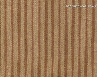 Dunroven House H-96 Primitive Style Homespun Brown Ticking Fabric