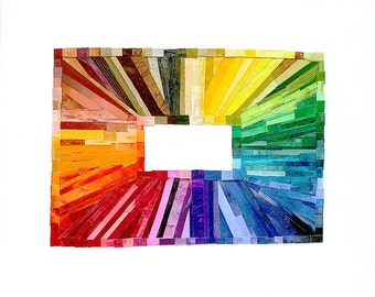 Rainbow Paper Collage- Wood Block- 16x20- Colorful Art- Original Mixed Media- Abstract Rainbow- Color Spectrum- Vertical| Horizontal