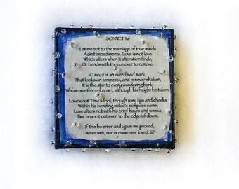 Love Poem- Sonnet 116- Miniature Canvas- Shakespeare- Mixed Media- 2x2- Midnight Blue