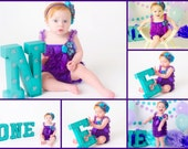 Under the Sea Peacock Lace Ruffle Petti Romper Couture Over the Top First Birthday Outfit Photo Prop, Bright Purple Lavender Turquoise Blue