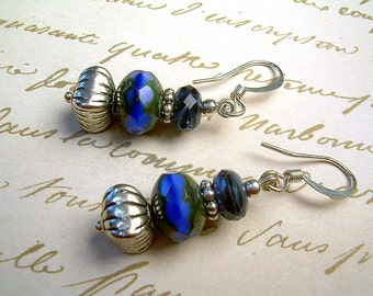 Czech Picasso And Silver Bead Dangle Earrings In Rich Navy Blue