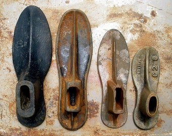 Antique 4 Cobbler's Cast Iron Shoe Making Forms FREE Shipping