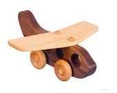 Wooden Toy Jet Airplane Push Toy – Hardwood Walnut-- Natural & Organic Wooden Toy Helicopter - Wood Toy Jet Airplane