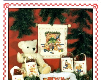 Beary Merry Christmas Fireplace Hearth Toys Teddy Bears Train Presents Sailboat Counted Cross Stitch Embroidery Craft Pattern Leaflet