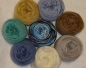 Merino Wool Silk Roving for Felting or Spinning - Felting Spinning Kit - Blending Board Kit - Tan, Green, Blue - Sand in my shoes