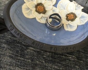 Ceramic Wedding Ring Bowl, with Poppies in Sky Blue and Brown Stoneware Clay