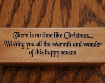 F457 Stamp pad Co. No Time Like Christmas rubber stamp script wood mounted new