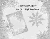White Snowflake Clipart, White Christmas, Snowflakes