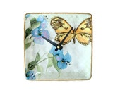 Small Wall Clock, 6 Inch Butterfly Clock, Floral Clock, SILENT Ceramic Plate Clock, Unique Wall Clock, Gift for Mom, Unique Wall Decor  1938