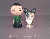 Reserved for Monica Child and Pet Kokeshi Dolls