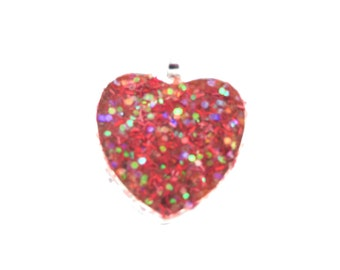 Red heart pendant etsy red heart pendant faux druzy mozeypictures Choice Image
