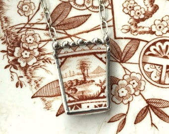 Broken china jewelry necklace antique amber brown English Victorian aesthetic transferware