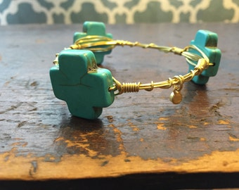 Large Turquoise Cross- gold toned wire wrapped bangle